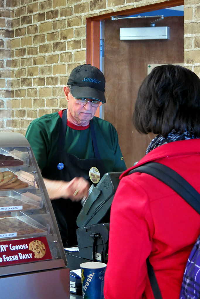 Paul works at Subway in the Keathley University Center on campus. Photo by Bailey Robbins.