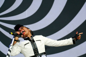 Janelle Monae performs at What Stage at the 2014 Bonnaroo Music and Arts Festival on Friday, June 13, 2014. (MTSU Sidelines/Matt Masters)