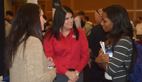 A Student speaking with potential employers at MTSU's 32nd annual student career fair.  Photo by Sarah Taylor Staff Writer MTSU Sidelines