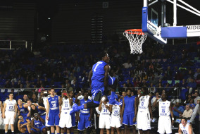 DJ Jones competes in dunking competition. Photo by RJ Estrella MTSU Sidelines Staff Photographer.