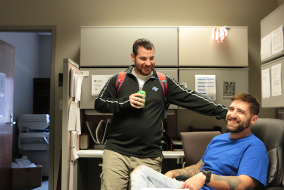 Kevin Tonsetic and Andrew Thomas in MTSU's Military Center for Veteran Success on Campus