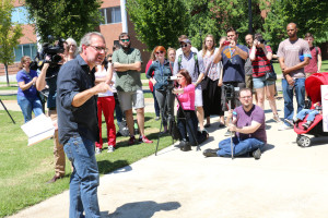 MTSU Philosophy Professor Dr. Michael Principe leads discussion at March to Change the Name of Forrest Hall on Aug. 27, 2015 (MTSU Sidelines/ Sarah Grace Taylor)
