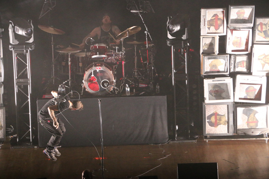 Bert McCracken, left, and Dan Whitesides, right, of The Used perform at the War Memorial Auditorium in Nashville, Tenn. on Tuesday, May 5, 2015. The show was the band's second stop on a co-headlining tour with Chevelle. (MTSU Sidelines / John Connor Coulston)