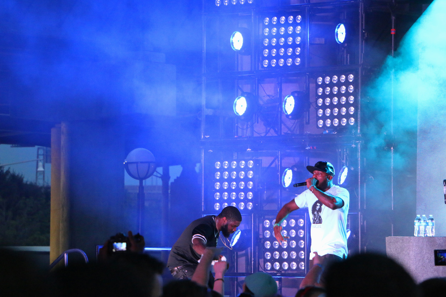 Big K.R.I.T., left, performs with special guest Talib Kweli, right, at the Forecastle Festival in Louisville, Ky., on Friday, July 17, 2015. (MTSU Sidelines / John Connor Coulston)