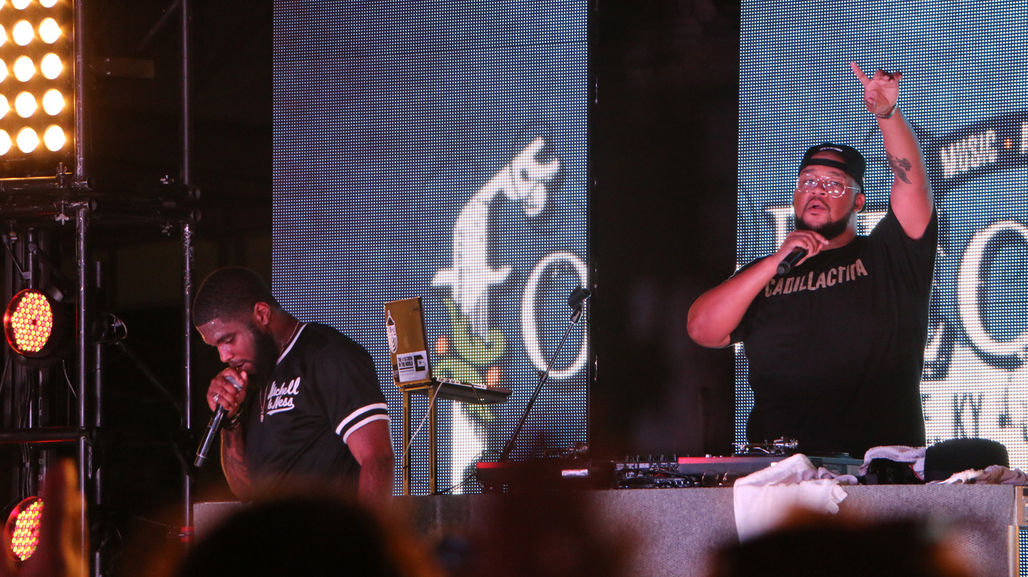 Big K.R.I.T., left, and DJ DiBia$e, right, perform at the Forecastle Festival in Louisville, Ky., on Friday, July 17, 2015. (MTSU Sidelines / John Connor Coulston)