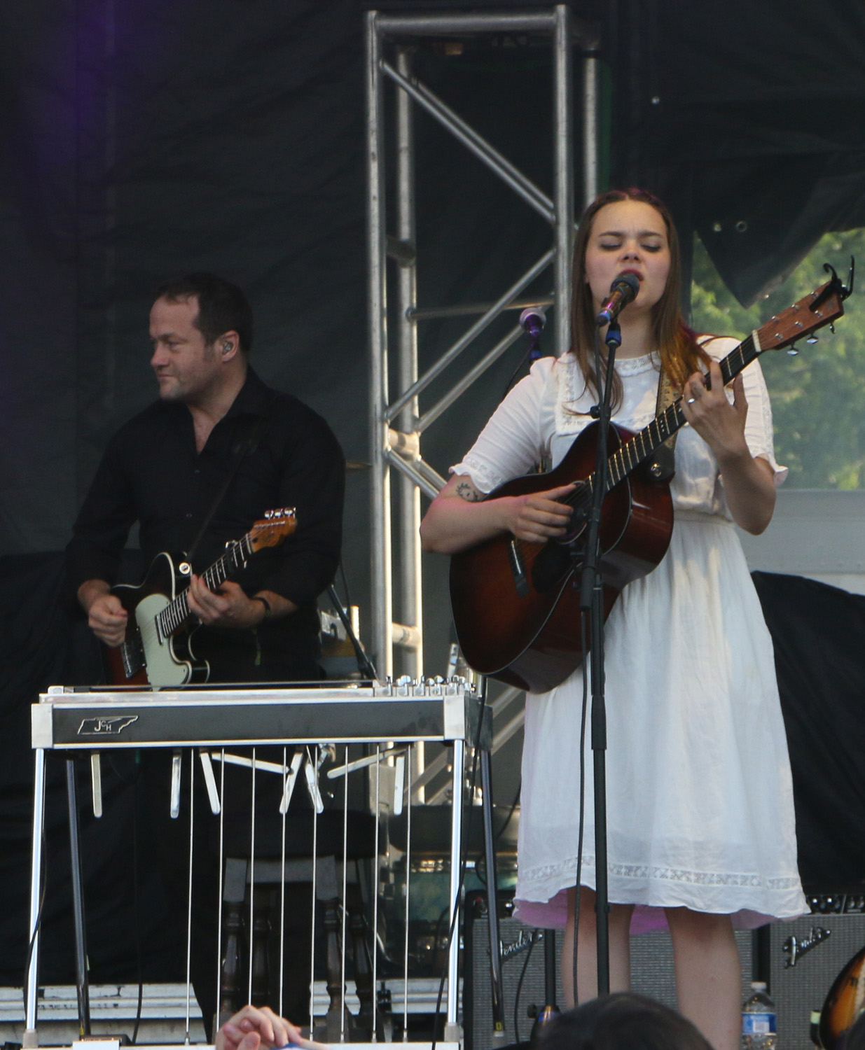 Melvin Duffy , left, and Klara Söderberg, right, of First Aid Kit perform at the Sloss Music & Arts Festival in Birmingham, Ala., on Saturday, July 18, 2015. (MTSU Sidelines / John Connor Coulston)