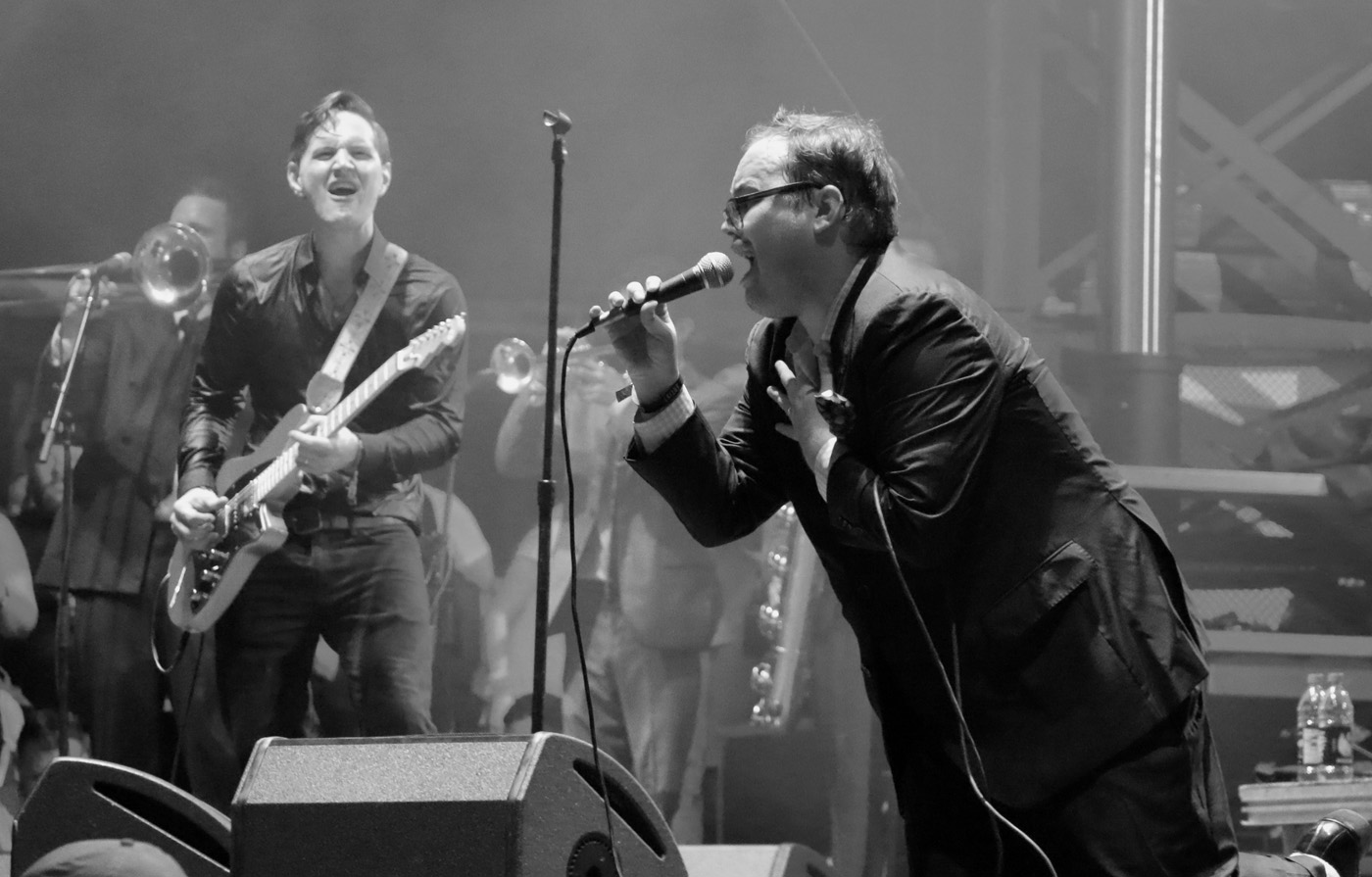 Browan Lollar, left, and Paul Janeway, right, of St. Paul and the Broken Bones perform at the Sloss Music & Arts Festival in Birmingham, Ala., on Sunday, July 19, 2015. (MTSU Sidelines / John Connor Coulston)