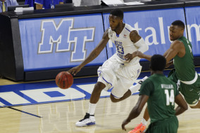 Middle Tennessee came back late Saturday night for a home victory against Charlotte. The Blue Raiders won 72-69. (Greg French/MTSU Sidelines)