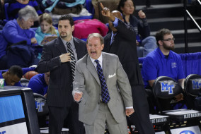 Head Coach Kermit Davis (center) said the team's victory on January 24 was due in part to the home crowd in Murphy Center. (Greg French/MTSU Sidelines)