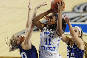 Senior Cheyenne Parker shoots during Thursday night's victory over Rice, 79-61. Parker scored 29 points and 14 rebounds during the night. (Greg French/MTSU Sidelines)