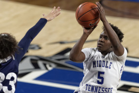 Senior Shanice Carson takes a shot during another Blue Raider win in Murphy Center. Middle Tennessee defeated Rice on Feb. 12, 79-61. (Greg French/MTSU Sidelines)
