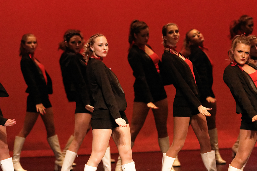 """Members of Alpha Omicron Pi competing in Phi Beta Sigma's """"Stepping for a Cure"""" step show Friday, February 14, 2015. All proceeds from the event went to St. Jude's Children Research Hospital. (Greg French / MTSU Sidelines)"""
