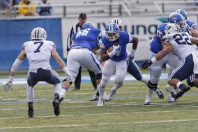 Blue Raiders lose long struggle against BYU.  Photo by Greg French MTSU Sidelines Staff Photographer