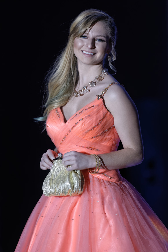 """Amethyst Richie models during the """"Dressed to Give Fashion Affair"""" at Stones River Country Club in Murfreesboro, Tenn. on Saturday, Nov. 22, 2014. The event was a fundraiser for Helping Hands Worldwide Services. (MTSU Sidelines/Greg French)"""