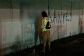 Anti-Kanye graffiti still decorates the walls at Bonnaroo Music and Arts Festival. / Bruce Boeko