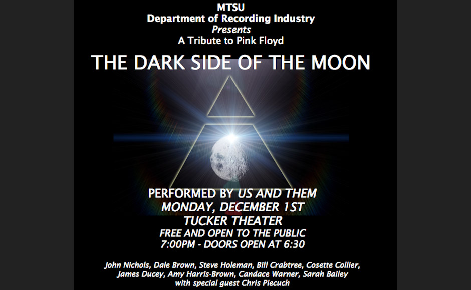 "Us and Them will perform Pink Floyd's ""The Dark Side of the Moon"" Monday, Dec. 1, 2014 in MTSU's Tucker Theatre. The band is comprised primarily of MTSU faculty and students. (FILE/MTSU)"