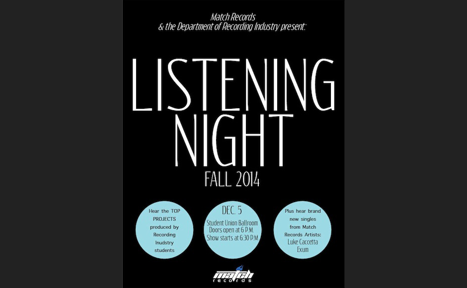 Match Records & the Department of Recording Industry presented their Fall Listening Night on Friday, Dec. 5, 2014. (FILE/Match Records)