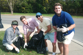 Left to Right: Tyler Fried, Denis Nackley, David Kim, Garrett Sumner-Jones volunteer with MTSU's Stormwater Program to clean up rainwater retention areas.  Photo by Sarah Taylor Staff Writer MTSU Sidelines