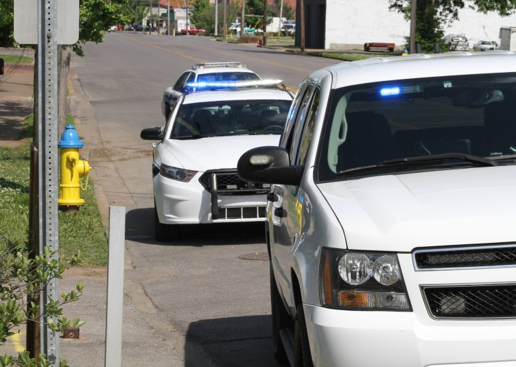 Murfreesboro Police vehicles at crime scene.  Photo by Cat Murphy MTSU alum Stock photo
