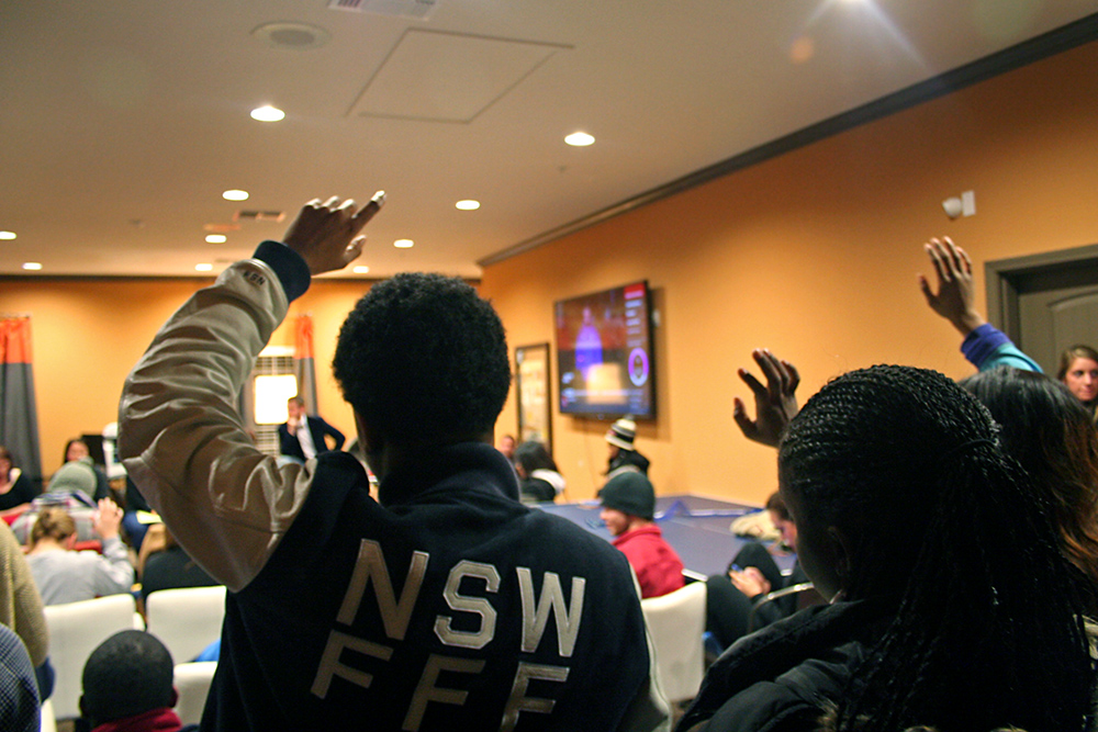 Tenants joined for a large meeting with the complex to voice their grievances and problems. Photo by Cat Murphy.