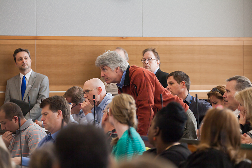 Several faculty and students attended the Town Hall meeting in the Student Union Building. Photo by Minh Tri Phan Chau.