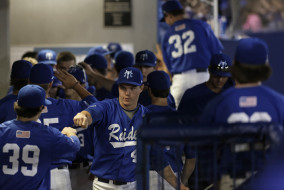MTSU celebrated a victory over in-state rival Memphis tonight in a 4-0 victory. Photo by Greg French.