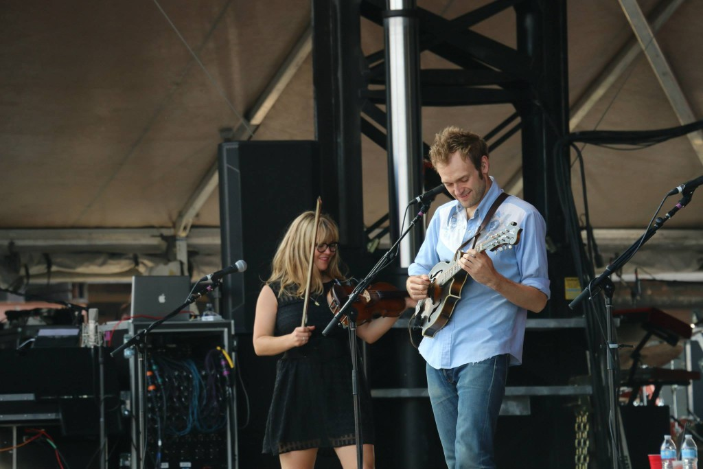 Sara Watkins, left, and Chris Thile, right, of Nickel Creek perform at the Forecastle Festival in Louisville, Kentucky on Sunday, July 20, 2015. (MTSU Sidelines / Dylan Skye Aycock)