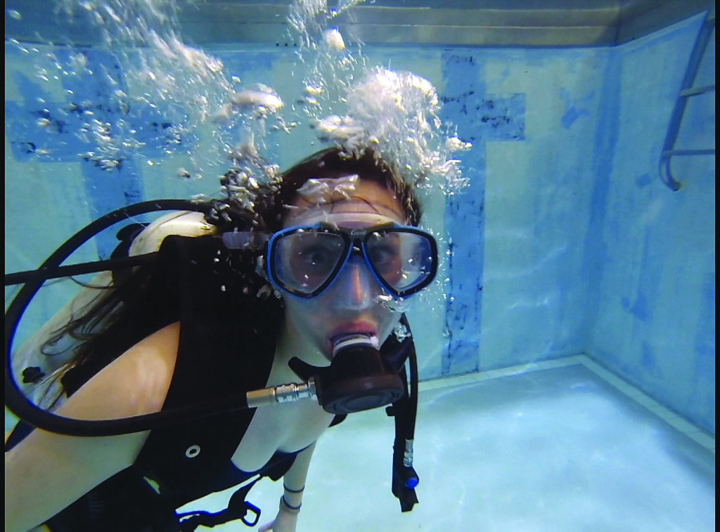 Haley McKinney took scuba diving courses here at the university. Photo Alex Reavis.