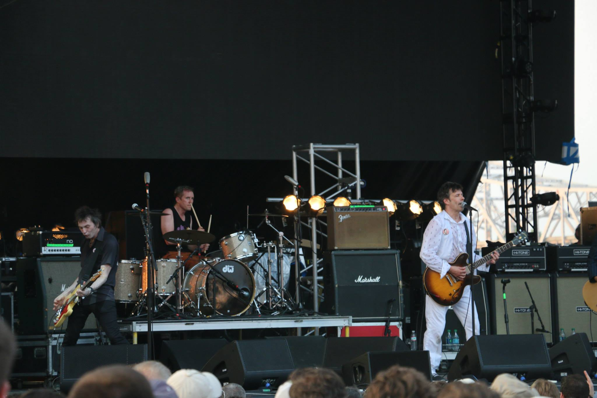 The Replacements' Tommy Stinson, left, and Josh Freese, center, and Paul Westerberg, right, perform at the Forecastle Festival in Louisville, Kentucky on Sunday, July 20, 2015. (MTSU Sidelines / John Connor Coulston)