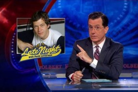 "Stephen Colbert discussing David Letterman's retirement from ""The Late Show"" on Comedy Central's ""The Colbert Report."" (FILE)"