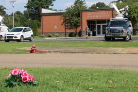 Flowers outside of the Decatur County Detention Center where a briefing was held about Holly Bobo.   Photo by Max Smith.