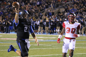 Austin Grammer during the Blackout game against Western Kentucky. Photo by Greg French MTSU Sidelines Staff Photographer