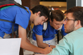 """MTSU is participating in the """"It's On Us"""" campaign to end sexual assault. Students sign the pledge on Oct. 28. Photo by RJ Estrella."""