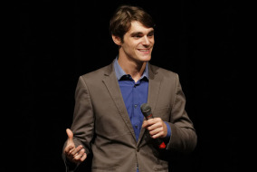 RJ Mitte spoke in MTSU's Tucker Theatre on Wednesday night.  Photo by Greg French MTSU Sidelines Staff Photographer