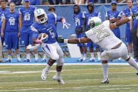 Pictured: MT Running Back Jeremiah Bryson Middle Tennessee Blue Raiders played University of Alabama-Birmingham Blazers on Saturday, October 18 for their homecoming game.   Photo by Greg French MTSU Sidelines Staff Photographer