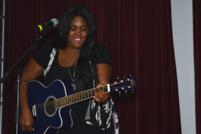 Brittney Spencer performs at MTSU's Rock the Mic competition on Oct. 21. Photo by Andre Rowlett.