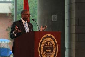 MTSU President Sidney McPhee speaks at the grand opening of the science building on Oct. 15.   Photo by Bing-Nan Li.