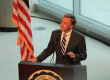Gov. Bill Haslam welcomes the grand opening of the new science building at MTSU on Oct. 15.   Photo by Bing-Nan Li.