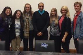 CUFI on Campus staff with Kasim Hafeez Tuesday night. Pictured left to right: Kelsey Feltman, Megan Ballou, Cheyenne Plott, Kasim Hafeez, Ashley Jenkins, Jessica Marzucco, and Garrett Floyd Photo courtesy: Facebook