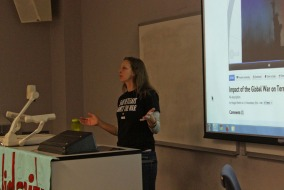 Maggie Martin, the Co-Director and Director of Organizing with Iraq Veterans Against the War speaks to students and faculty at the MT Solidarity meeting at MTSU. Photo by Matt Masters.