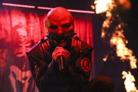 "Slipknot frontman Corey Taylor performs at Bridgestone Arena in Nashville, Tenn. on Friday, Nov. 22, 2014. The band was playing a headlining show on their ""Prepare for Hell"" Tour. (MTSU Sidelines/Matt Masters)"
