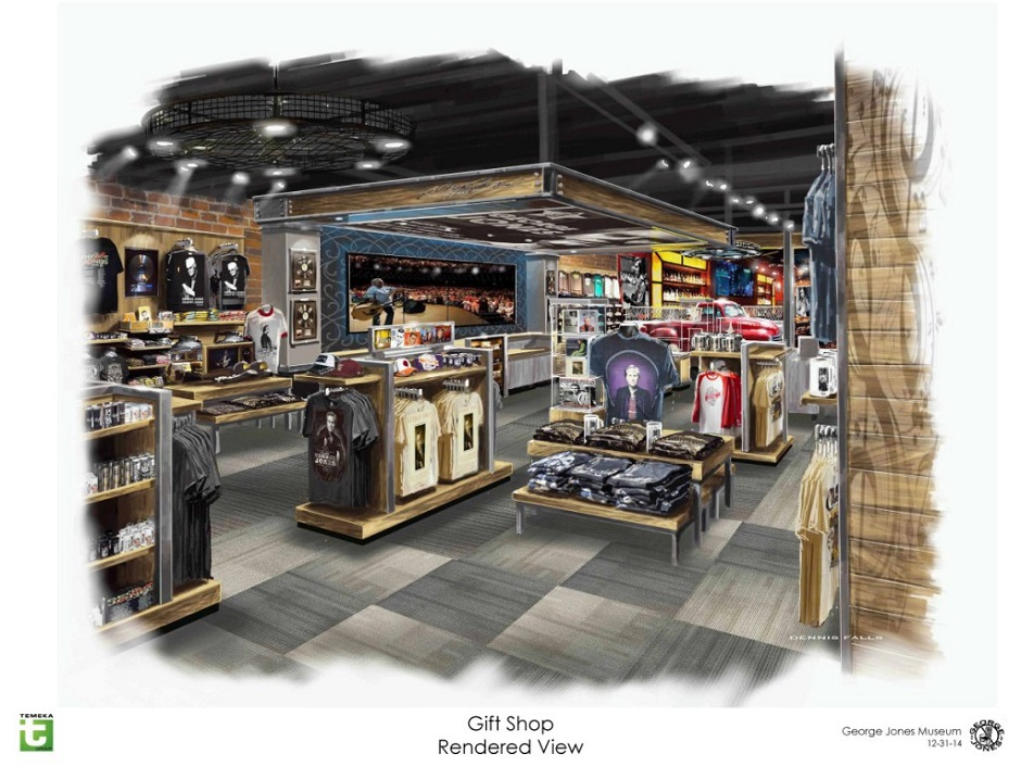 Concept art shows the gift shop inside the George Jones Museum. The museum will open April 24, 2015 at 128 Second Avenue North in Nashville, Tenn. (FILE/George Jones)