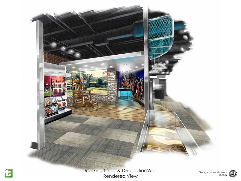 Concept art shows the Rocking Chair and Dedication Wall exhibits inside the George Jones Museum. The museum will open April 24, 2015 at 128 Second Avenue North in Nashville, Tenn. (FILE/George Jones)