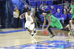 Freshman guard Giddy Potts collected 28 points during the game against Marshall. Coach Kermit Davis and the Blue Raiders trample the Thundering Heard in a 90-51 victory on the night of Thursday February, 19th. (MTSU Sidelines/R.J. Estrella)