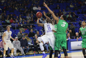 Freshman guard JaQuel Richmond takes a shot against Marshall's Jay Johnson. Coach Kermit Davis and the Blue Raiders trample the Thundering Heard in a 90-51 victory on the night of Thursday February, 19th. (MTSU Sidelines/R.J. Estrella)