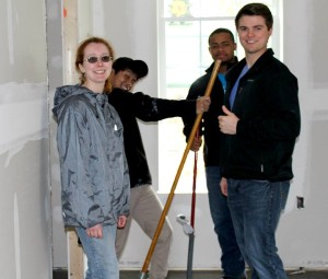 Students Rebecca Clippard, Hermon Phuntling, Brandon Lewis and Jackson Jones help build a home with Habitat for Humanity on March 11, 2015 as part of Alternative Spring Break. (MTSU Sidelines/Dylan Skye Aycock)
