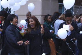 Students and faculty prepare to release balloons representing forgiveness on Tuesday, March 3, 2015. The balloon release was part of the kick off event for National Women's Month. (MTSU Sidelines/Samantha Hearn)