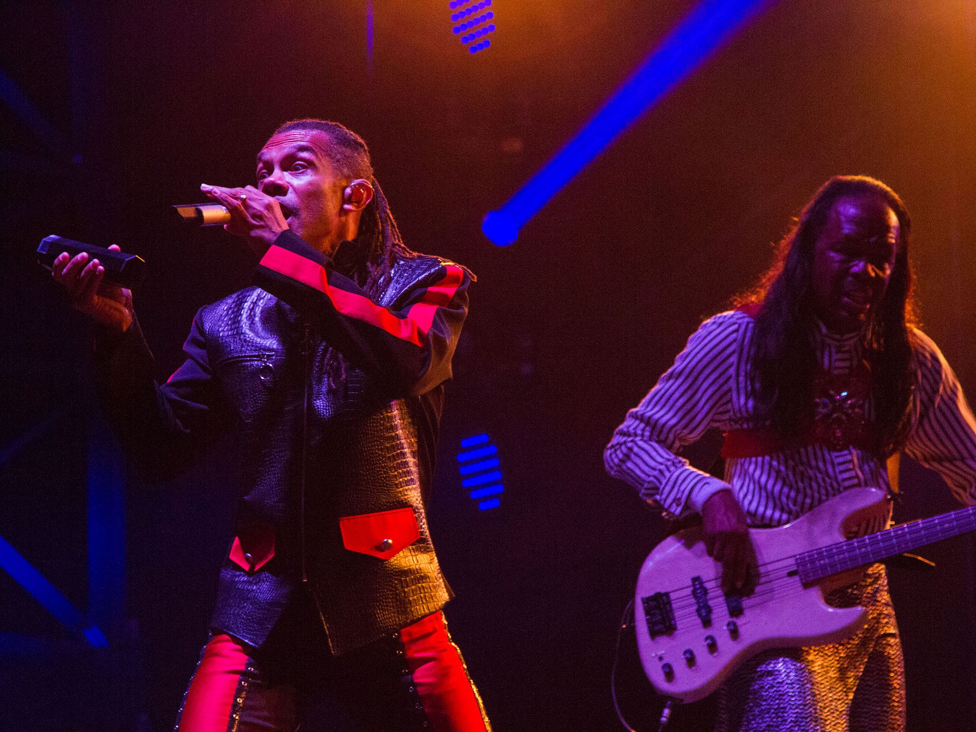 B. David Whitworth, left, and Verdine White, right, of Earth, Wind and Fire perform at the Bonnaroo Music and Arts Festival in Manchester, Tenn. on Friday,  June 12, 2015.  (MTSU Seigenthaler News Service / Matt Masters)