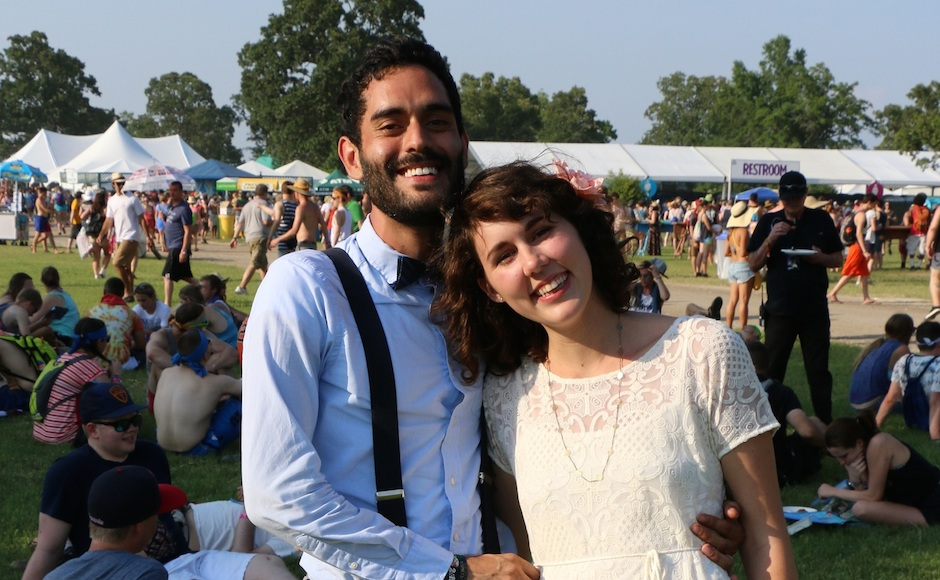 Newlyweds Pablo Bendicksen, left, and Danielle Shepard, right, tied the knot at the Bonnaroo Music and Arts Festival in Manchester, Tenn. on Thursday, June 11, 2015. (MTSU Sidelines / John Connor Coulston)