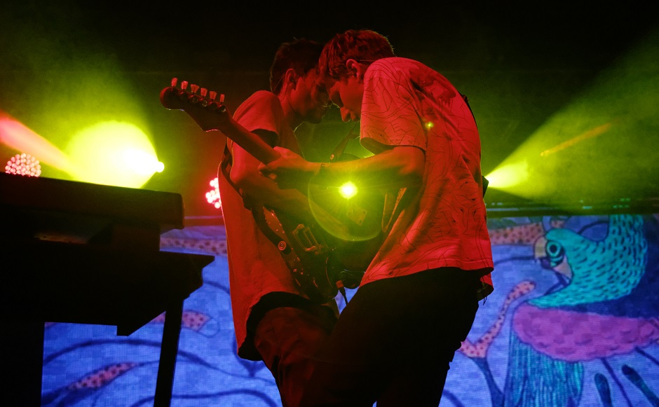 Drew MacFarlane, left, and Dave Bayley, right, of Glass Animals perform at the Bonnaroo Music and Arts Festival in Manchester, Tenn. on Thursday, June 11, 2015. (MTSU Sidelines/Gregory French)